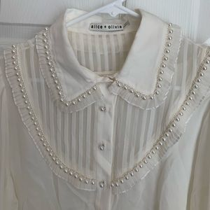 Alice + Olivia silk shirts with pearls